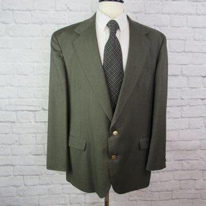 Haggar Men's 44 Long Wool Green Blazer